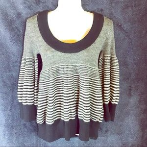 Free People Black & White Striped Sweater, Med